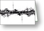 Blackandwhite Greeting Cards - Cn Tower Series: Reflection Greeting Card by Natasha Marco
