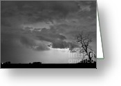 Lightning Weather Stock Images Greeting Cards - CO Cloud to Cloud Lightning Thunderstorm 27 BW Greeting Card by James Bo Insogna