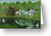 Swans Painting Greeting Cards - Coach And Four In Hand Greeting Card by Charlotte Blanchard