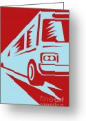 Coach Greeting Cards - Coach Bus Coming Up Greeting Card by Aloysius Patrimonio