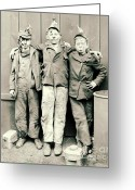 Overalls Greeting Cards - Coal Breaker Boys 1900 Greeting Card by Padre Art