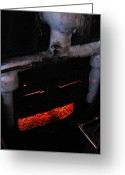 Coal Burner Greeting Cards - Coal Burner Face Greeting Card by Denise Keegan