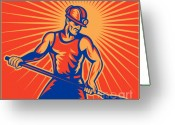 Shovel Greeting Cards - Coal miner at work with shovel front view Greeting Card by Aloysius Patrimonio
