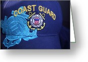 Turquois Greeting Cards - Coast Guard Cap Greeting Card by Linda Phelps