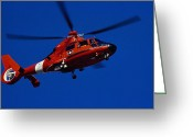 Law Enforcement Greeting Cards - Coast Guard Helicopter Greeting Card by Stocktrek Images