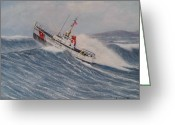 Coast Guard Greeting Cards - Coast Guard Motor Lifeboat Intrepid Version 2 Greeting Card by William H RaVell III