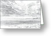 Beaches Drawings Greeting Cards - Coast Southwest Greeting Card by Al Cazu Alan Williamson