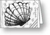 Seashell Art Drawings Greeting Cards - Coastal Contemporary Shell Collection SEA SCALLOP Sketch I by MADART Greeting Card by Megan Duncanson