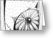 Seashell Art Drawings Greeting Cards - Coastal Contemporary Shell Collection SEA URCHIN Sketch I by MADART Greeting Card by Megan Duncanson