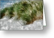 Ocean Landscape Pastels Greeting Cards - Coastal Grass Sandy Beach Greeting Card by Russ Harris