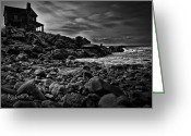Black Greeting Cards - Coastal Home  Kennebunkport Maine Greeting Card by Bob Orsillo
