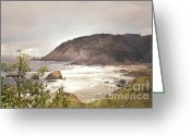 Pink Dawn Greeting Cards - Coastal Mountains Greeting Card by Andrea Hazel Ihlefeld