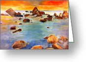Sunset Sculpture Greeting Cards - Coastal Sunset Greeting Card by Matthew Orlando
