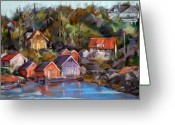 Coastal Greeting Cards - Coastal Village Greeting Card by Joan  Jones