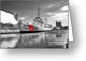 Coast Guard Greeting Cards - Coastguard Cutter Greeting Card by Scott Hansen