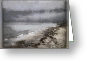 Pebbles Digital Art Greeting Cards - Coastline Greeting Card by Gun Legler