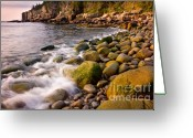 Ocean Path Greeting Cards - Cobble Sunrise Greeting Card by Susan Cole Kelly