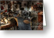 Old Things Greeting Cards - Cobblers Shop Greeting Card by Yhun Suarez