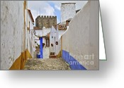 Blue Cobblestone Greeting Cards - Cobblestone Road of the Medieval Village of Obidos Greeting Card by David Letts