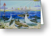 Anglers Greeting Cards - Cobia Run Greeting Card by Carey Chen