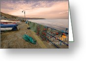 Coble Landing Greeting Cards - Coble Landing Filey Greeting Card by John D Hare