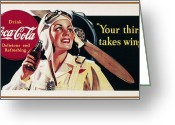 Bottle Cap Photo Greeting Cards - Coca-cola Ad, 1941 Greeting Card by Granger