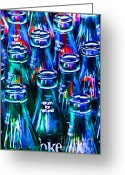 Violet Blue Greeting Cards - Coca-Cola Coke Bottles - Return For Refund - Painterly - Blue Greeting Card by Wingsdomain Art and Photography