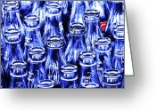 Violet Purple Greeting Cards - Coca-Cola Coke Bottles - Return For Refund - Square - Painterly - Blue Greeting Card by Wingsdomain Art and Photography