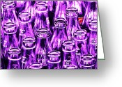 Violet Blue Greeting Cards - Coca-Cola Coke Bottles - Return For Refund - Square - Painterly - Violet Greeting Card by Wingsdomain Art and Photography