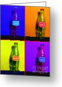 Violet Blue Greeting Cards - Coca-Cola Coke - Painterly - Four Greeting Card by Wingsdomain Art and Photography