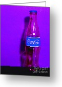 Violet Blue Greeting Cards - Coca-Cola Coke - Painterly - Purple Greeting Card by Wingsdomain Art and Photography