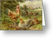 Sat Greeting Cards - Cochin China Fowls Greeting Card by George Hickin