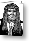 Indian Ink Greeting Cards - Cochise Greeting Card by Karl Addison