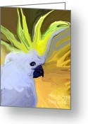 White Feather Greeting Cards - Cockatoo Greeting Card by Chris Butler