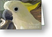 White Feather Greeting Cards - Cockatoo Two Greeting Card by Chris Butler