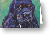 Cocker Spaniel Greeting Cards - Cocker Spaniel head study Greeting Card by Lee Ann Shepard