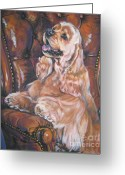 Cocker Spaniel Greeting Cards - Cocker Spaniel on chair Greeting Card by L A Shepard