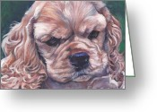 Cocker Spaniel Greeting Cards - Cocker spaniel puppy Greeting Card by Lee Ann Shepard