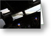 Control Greeting Cards - Cockpit View Of An Evening Landing Greeting Card by Daniel Karlsson