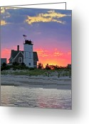 Sly Greeting Cards - Cocktail Hour at Sandy Neck Lighthouse Greeting Card by Charles Harden