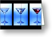 Club Greeting Cards - Cocktail Triptych Greeting Card by Jane Rix
