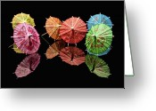 Umbrella Greeting Cards - Cocktail Umbrellas II Greeting Card by Tom Mc Nemar