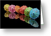 Umbrella Greeting Cards - Cocktail Umbrellas III Greeting Card by Tom Mc Nemar