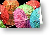 Umbrella Greeting Cards - Cocktail Umbrellas IV Greeting Card by Tom Mc Nemar