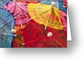 Umbrella Greeting Cards - Cocktail Umbrellas V Greeting Card by Tom Mc Nemar