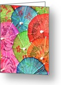 Umbrella Greeting Cards - Cocktail Umbrellas VII Greeting Card by Tom Mc Nemar