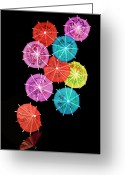 Umbrella Greeting Cards - Cocktail Umbrellas VIII Greeting Card by Tom Mc Nemar