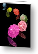 Umbrella Greeting Cards - Cocktail Umbrellas XII Greeting Card by Tom Mc Nemar