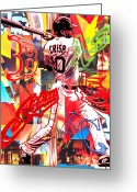 Boston Red Sox Mixed Media Greeting Cards - Coco Greeting Card by Kevin Newton