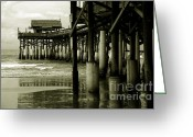 Monochrome Greeting Cards - Cocoa Beach FL Greeting Card by Susanne Van Hulst